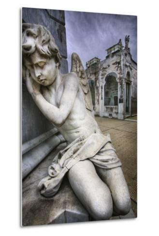 Angel Sculpture in Recoleta Cemetery in Buenos Aires-Jon Hicks-Metal Print