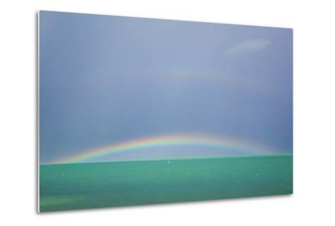 A Brilliant Double Rainbow over the Atlantic Ocean in the Florida Keys-Mike Theiss-Metal Print