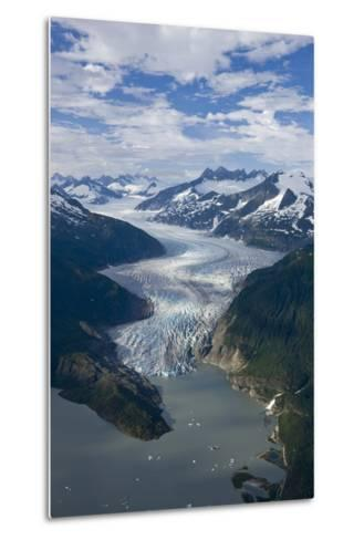 Aerial View of Mendenhall Glacier Winding its Way Down from the Juneau Icefield to Mendenhall Lake-Design Pics Inc-Metal Print