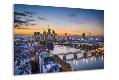 Skyline of Frankfurt, Germany, the Financial Center of the Country.-SeanPavonePhoto-Metal Print