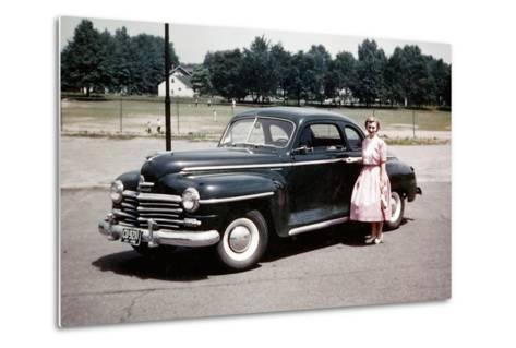 Young Woman Poses with Her Plymouth Automobile, Ca. 1951.-Kirn Vintage Stock-Metal Print