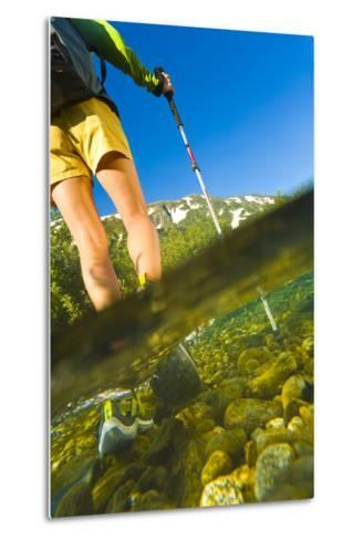 Underwater View of a Hiker Crossing Stream-Design Pics Inc-Metal Print