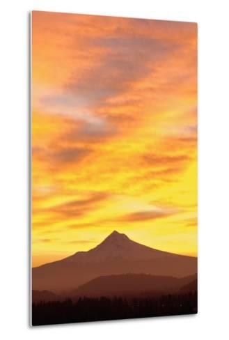 Sunrise over Mount Hood, Portland, Oregon, USA-Design Pics Inc-Metal Print
