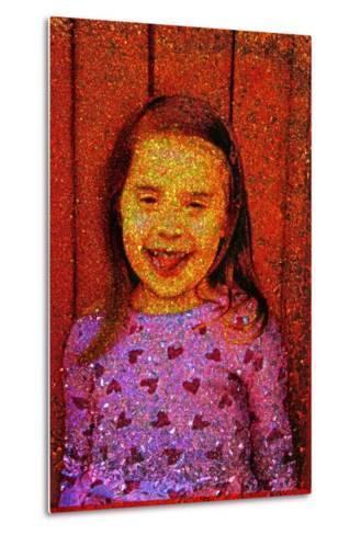 Little Girl Laughing.-Andr? Burian-Metal Print