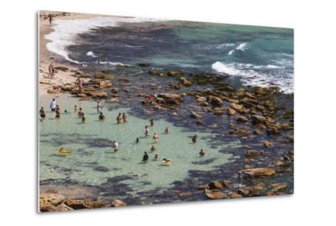 Australia, Sydney, Bronte, Bronte Beach, Elevated View-Walter Bibikow-Metal Print