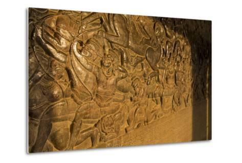 Stone Carvings at Angkor Wat, Cambodia-Paul Souders-Metal Print
