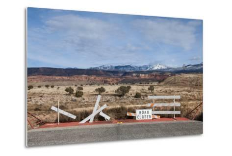 An Asphalt Road Comes to an Abrupt End Just before a Spectacular Landscape-Jim Reed-Metal Print