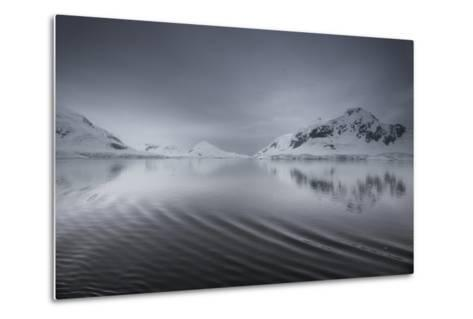 Icebergs and Mountains Reflected in a Rippled Surface of the Ocean-Jim Richardson-Metal Print