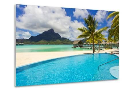 A Swimming Pool on the Beach at the Le Meridien Resort, with Mount Otemanu in the Distance-Mike Theiss-Metal Print
