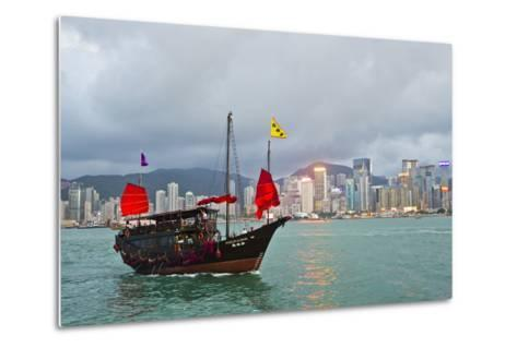 A Boat Named Aqualuna in Victoria Harbor with the Hong Kong Skyline in the Distance-Mike Theiss-Metal Print