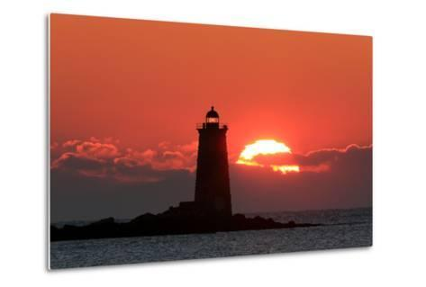 The Sun Rises Behind Whaleback Light Offshore from Kittery, Maine-Robbie George-Metal Print