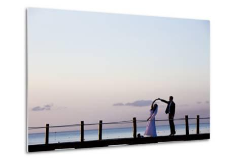 Newlyweds Practice for their First Dance after their Beach Wedding on the Island of Cozumel-Michael Lewis-Metal Print