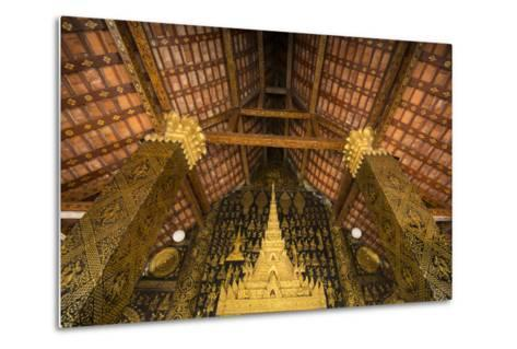 Detail of Roof and Supporting Column Inside Wat Xieng Thong Monastery-Michael Melford-Metal Print