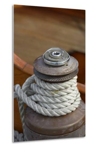 Washington State, Port Townsend. Barient Winch on an Old Wood Sailboat-Kevin Oke-Metal Print