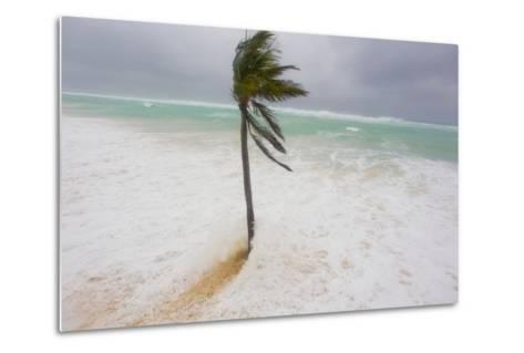 Large Waves and Storm Surge Cover Beaches as Hurricane Igor Approaches-Mike Theiss-Metal Print