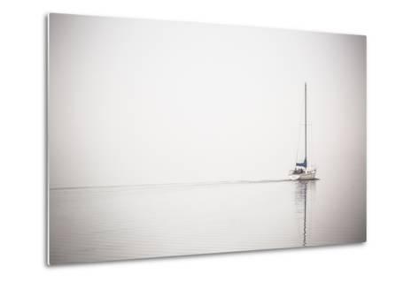 A Lone Sailboat Motors Through Morning Fog on the Occoquan River, Near the Potomac River-Kent Kobersteen-Metal Print