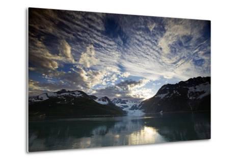 View of Surprise Glacier at Sunset Harriman Fjord Pws Southcentral Alaska Summer-Design Pics Inc-Metal Print