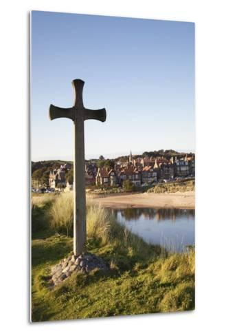 Cross on a Hill Overlooking Town; Alnmouth, Northumberland, England-Design Pics Inc-Metal Print