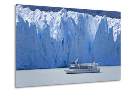 Tourist in a Boat Close to Perito Moreno Glacier Hope to Witness Calving-Mike Theiss-Metal Print