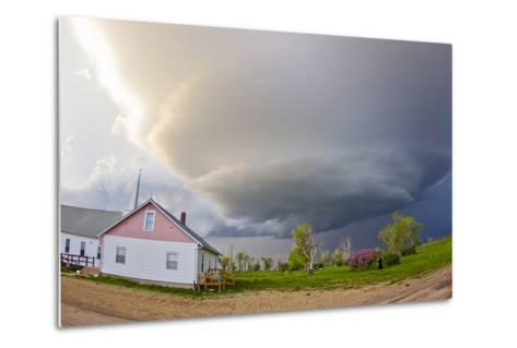 A Rotating Mesocyclone Supercell Thunderstorm Filling the Sky over a Small Church-Mike Theiss-Metal Print