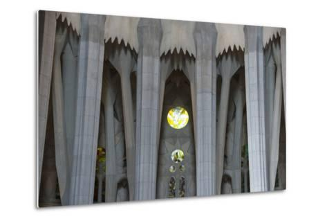 Interior View of Columns and Stain Glass Windows in Gaudi's La Sagrada Familia Catedral-Michael Melford-Metal Print