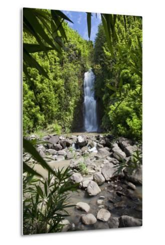 Hawaii, Maui, Hana, a Waterfall Surrounded by Lush Bamboo Plants-Design Pics Inc-Metal Print