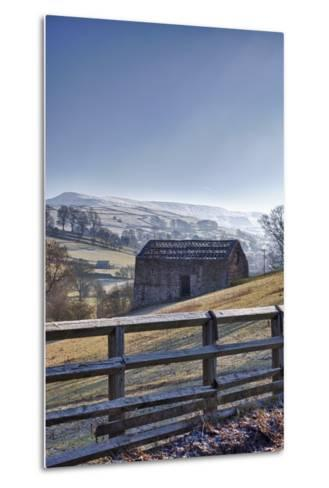 A Barn on a Hilly Landscape in the Fog; Yorkshire Dales, England-Design Pics Inc-Metal Print