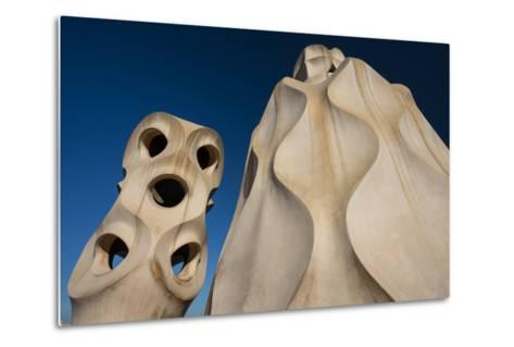 Chimneys as Abstract Sculptures by Gaudi on the Rooftop of Casa Mila, also Know as La Pedrera-Michael Melford-Metal Print