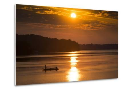 A Fisherman at Sunrise on the Occoquan River, Looking Toward Mason Neck-Kent Kobersteen-Metal Print