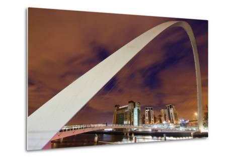 Looking over the Tyne at Dusk Through the Winking Bridge to the Baltic Arts Centre-Design Pics Inc-Metal Print