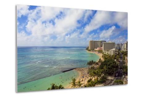 Hawaii, Oahu, Waikiki, View of the Pacific Ocean, Waikiki Beach, and Famous Hotels-Design Pics Inc-Metal Print
