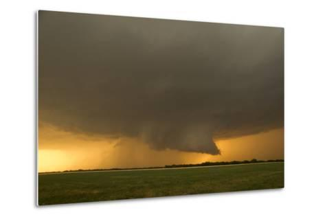 A Tornado-Warned Supercell Thunderstorm Produces a Well-Defined Wall Cloud over a Farm Field-Jim Reed-Metal Print