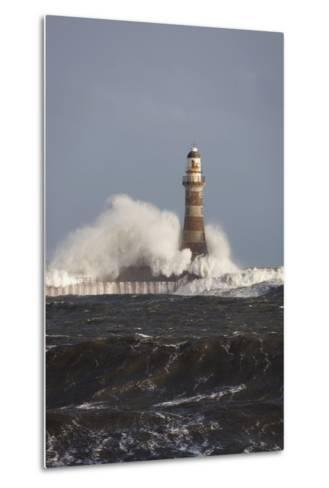Waves Crashing Against a Lighthouse; Sunderland, Tyne and Wear, England-Design Pics Inc-Metal Print