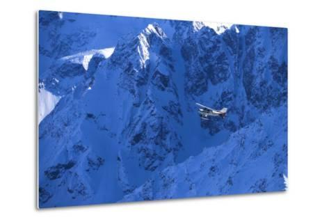 Small Plane Flying Above Chugach Mts Southcentral Ak - Nspring-Design Pics Inc-Metal Print