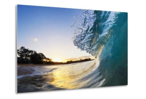 Hawaii, Maui, Makena, Beautiful Blue Ocean Wave Breaking at the Beach at Sunrise-Design Pics Inc-Metal Print
