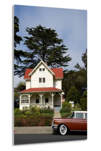 A Classic Car Parked Outside of Old Army Housing in the Presidio National Park of San Francisco-Krista Rossow-Metal Print