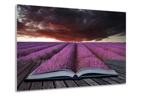 Creative Concept Pages of Book Stunning Lavender Field Landscape Summer Sunset under Moody Red Stor-Veneratio-Metal Print