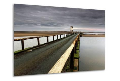 A Road Going over Water Towards a Beach; Northumberland,England-Design Pics Inc-Metal Print