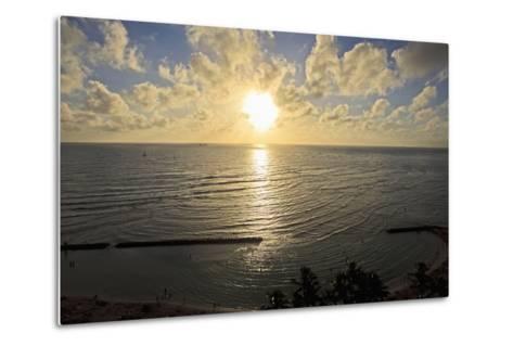 Hawaii, Oahu, Sunset over Waikiki Beach and Ocean-Design Pics Inc-Metal Print