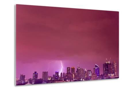 A Intense Thunderstorm with Lightning over the Skyline of Manila-Mike Theiss-Metal Print