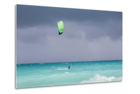 A Kiteboarder Enjoying Gusty Winds Created by Hurricane Tomas-Mike Theiss-Metal Print