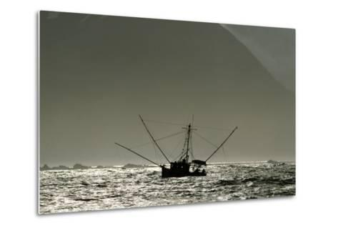 Silhouetted Salmon Troller Fishing Off Icy Point, Gulf of Alaska During Mid-Summer-Design Pics Inc-Metal Print