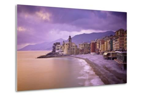 Buildings Along the Coast at Sunset; Camogli Liguria Italy-Design Pics Inc-Metal Print
