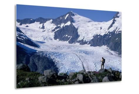 Couple Hiking at Portage Pass with View of Glacier Ak-Design Pics Inc-Metal Print