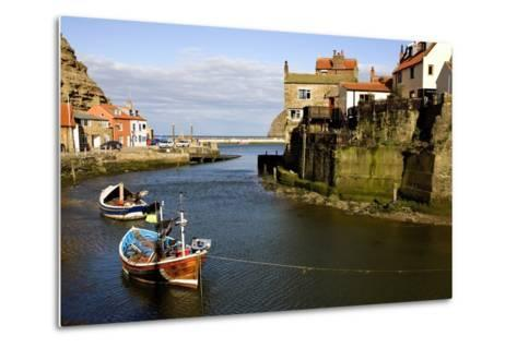 Moored Boats in Staithes; North Yorkshire, England, Uk-Design Pics Inc-Metal Print