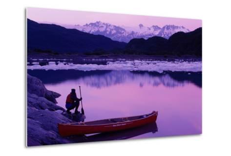 Woman Viewing Lake Next to Canoe Shoup Bay Marine Park-Design Pics Inc-Metal Print