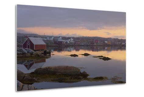 Fishing Village Along the Water's Edge at Sunset; Fogo Island, Newfoundland, Canada-Design Pics Inc-Metal Print