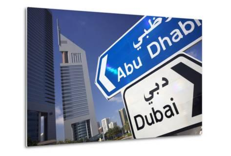 Direction Signs on Sheikh Zayed Road in Dubai-Jon Hicks-Metal Print