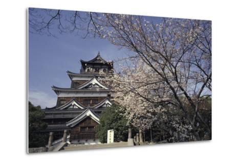 Hiroshima Castle and Cherry Blossoms in Spring-Design Pics Inc-Metal Print