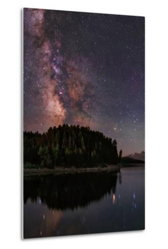 The Milky Way Appears in Constellation Scorpius and Sagittarius over the The Jackson Lake Dam-Babak Tafreshi-Metal Print